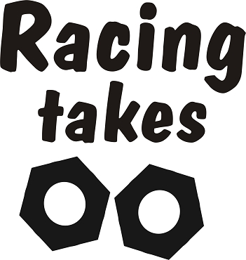 Funny Vinyl Decal Sticker RACING TAKES NUTS HQ 5x7 ANY COLOR!